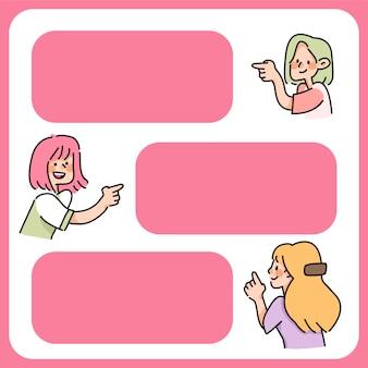 Ludzie wstawiają tekst spacja kreskówka znak uwaga miejsce na tekst