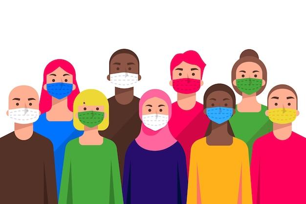 Ludzie wszystkich narodowości noszący maski