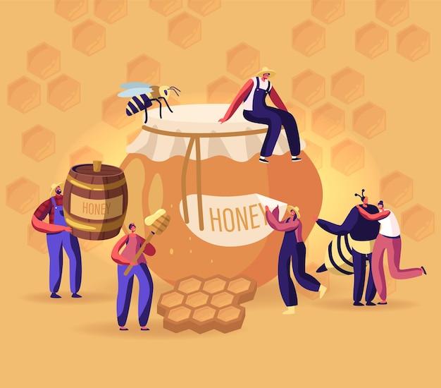 Ludzie wydobywający i jedzący miód koncepcja. płaskie ilustracja kreskówka