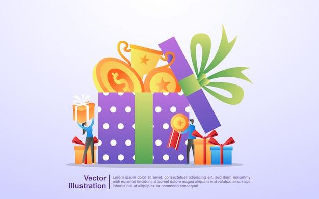 Ludzie wygrywają loterie, programy zwrotu gotówki, nagrody dla lojalnych klientów, atrakcyjne oferty