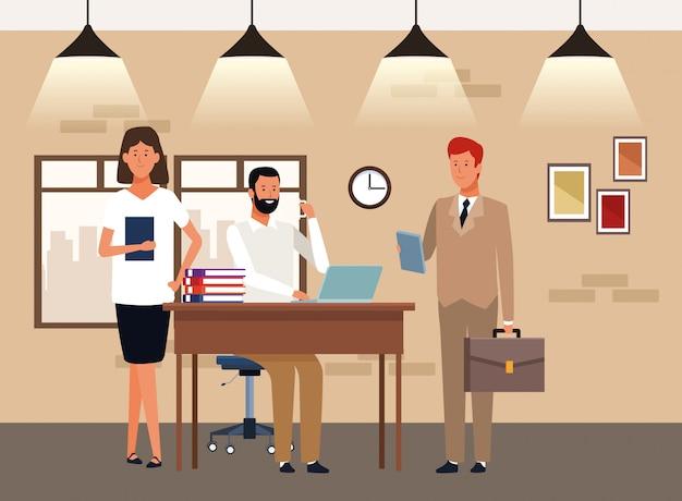 Ludzie wykonawczy kreskówka w biurze