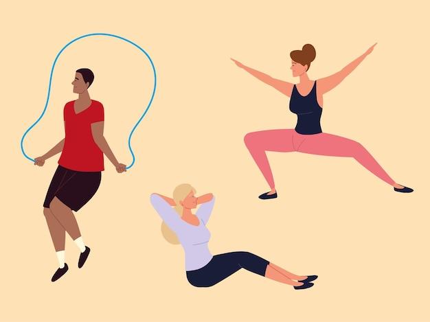 Ludzie wykonujący ćwiczenia