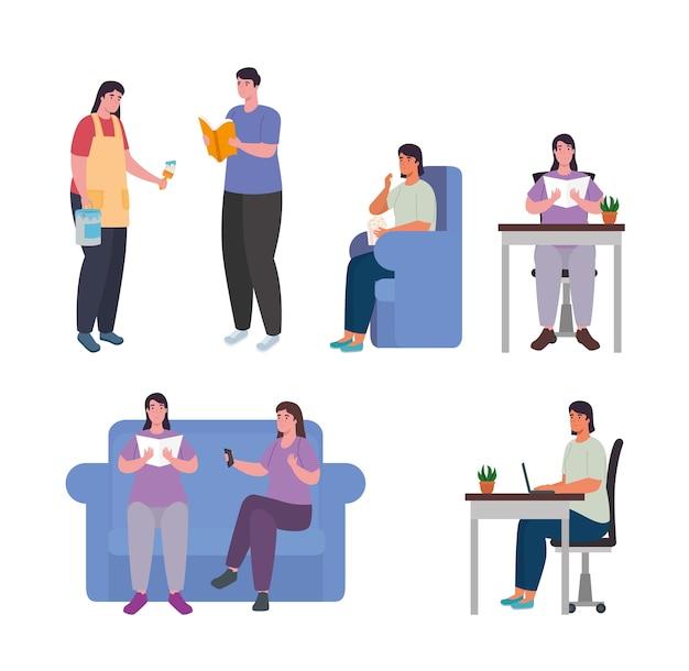 Ludzie wykonujący czynności w domu symbol zestaw projektowania aktywności i wypoczynku