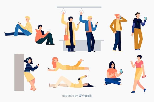 Ludzie wykonujący różne czynności za pomocą telefonu komórkowego