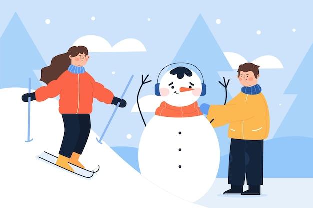 Ludzie wykonujący różne zimowe zajęcia