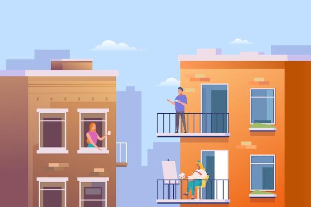 Ludzie wykonujący wolny czas na balkonie