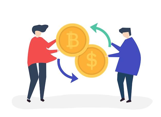 Ludzie wymieniający bitcoin na dolary