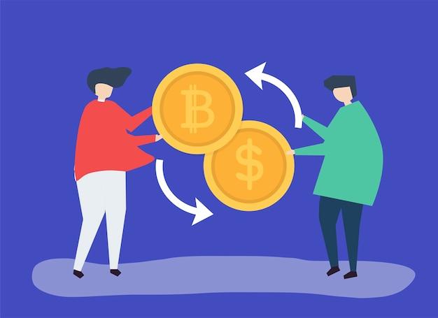 Ludzie wymieniający bitcoiny na dolary