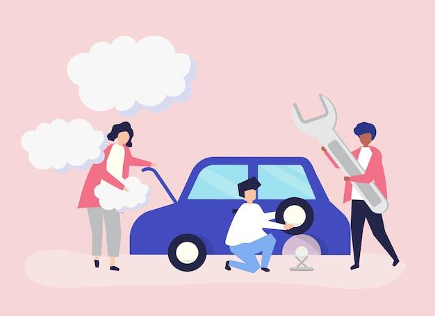 Ludzie wymieniający oponę samochodową
