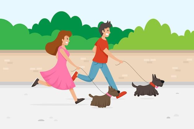 Ludzie wyprowadzają psa na zewnątrz