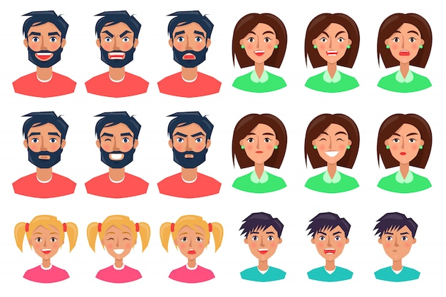 Ludzie wyrażający emocje zestaw ikon na białym tle