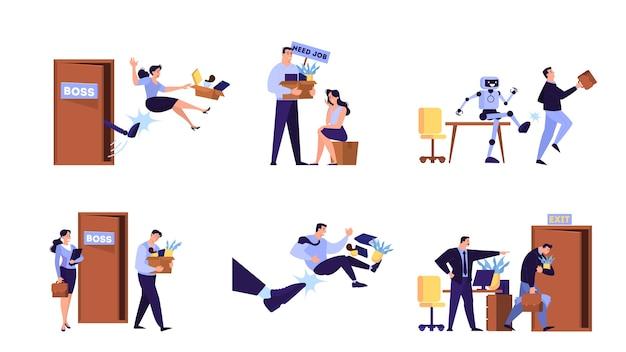 Ludzie wyrzucani z zestawu do pracy. idea bezrobocia. osoba bezrobotna, kryzys finansowy. ilustracja