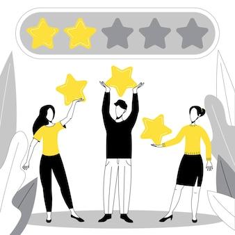 Ludzie wystawiają oceny i opinie. ocena opinii klientów. pięć gwiazdek opinii na temat aplikacji mobilnej.