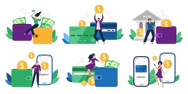 Ludzie wysyłali pieniądze z portfela na karty bankowe, płatności mobilne i transakcje finansowe.