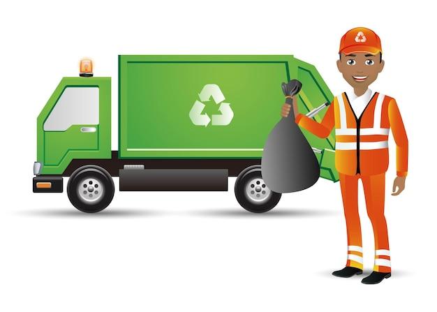 Ludzie Wyznaczają Zawód Street Cleaner Premium Wektorów