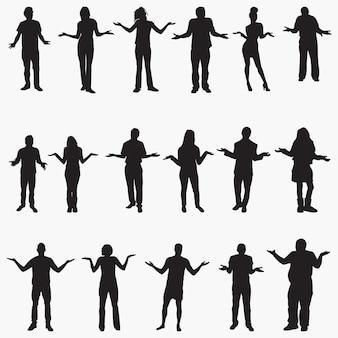 Ludzie wzruszając ramionami sylwetki