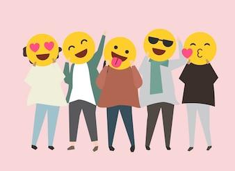 Ludzie z śmieszną i szczęśliwą emoja ilustracją