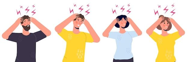 Ludzie z atakiem bólu głowy, zmęczeniem współczuciem.