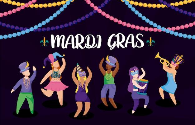 Ludzie z czapkami karnawałowymi mardi gras