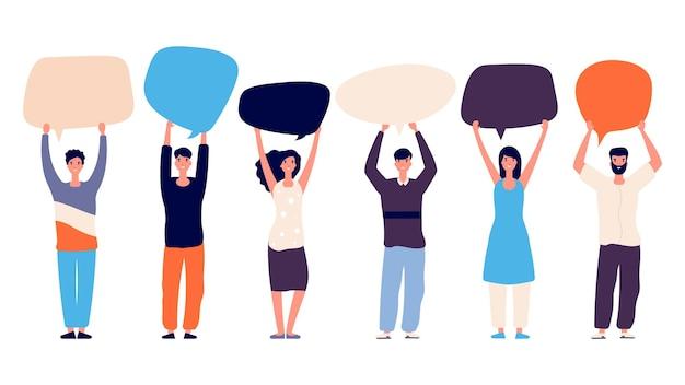 Ludzie z dymkami. głosowanie za właściwą koncepcją. płaskie znaki motywacji wektor na białym tle. komunikacja biznesowa, dymek i ilustracja rozmowy