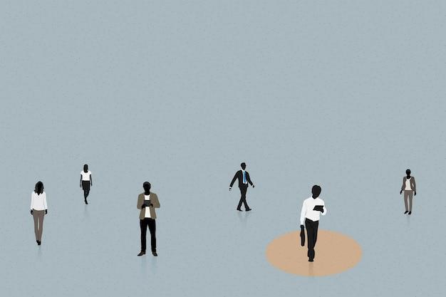 Ludzie z dystansem społecznym w wektorze publicznym