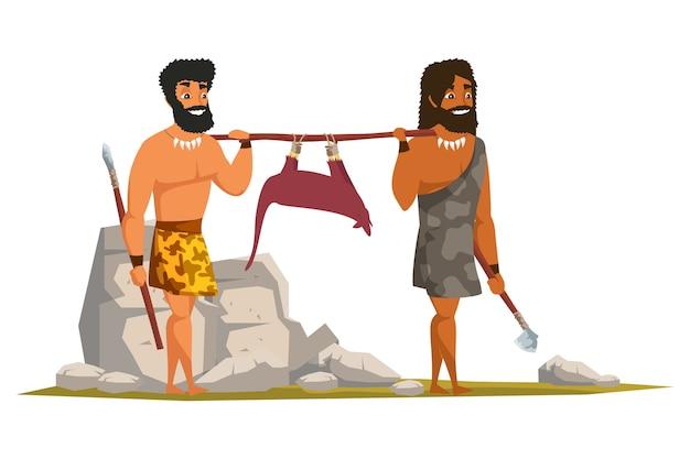 Ludzie z epoki kamienia łupanego niosący płaską ilustrację trofeum zwierząt, prehistoryczne polowanie. prymitywni mężczyźni gotujący mięso postaci z kreskówek. rysunek posiłku jaskiniowca. starożytne narzędzia kuchenne, sprzęt