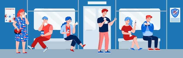 Ludzie z grypą jeżdżą na płaskiej ilustracji w metrze