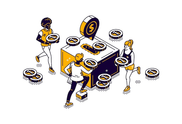 Ludzie z ikoną pieniędzy i skarbonki z izometryczną ilustracją złotej monety