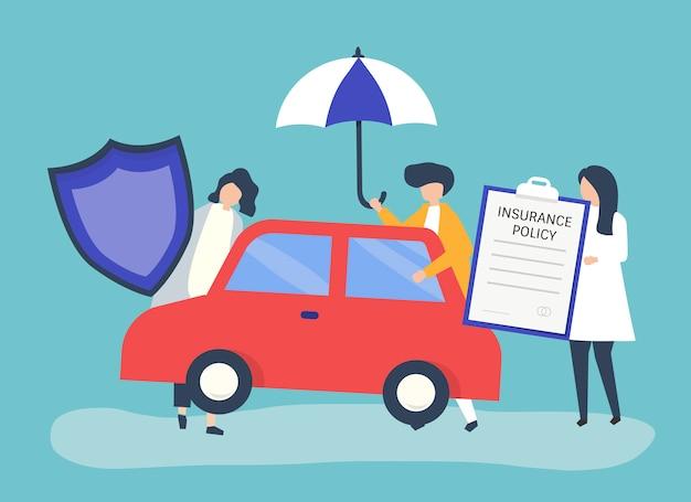 Ludzie z ikonami związanymi z ubezpieczeniem samochodu
