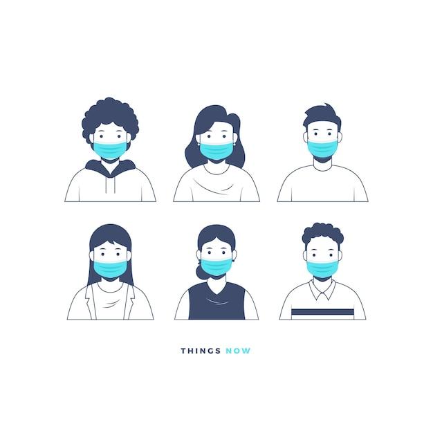 Ludzie z ilustracją maski ochronnej