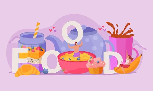 Ludzie z jedzeniem i abstrakcyjnymi napojami śniadaniowymi, kompozycją płaską, owocami i deserami