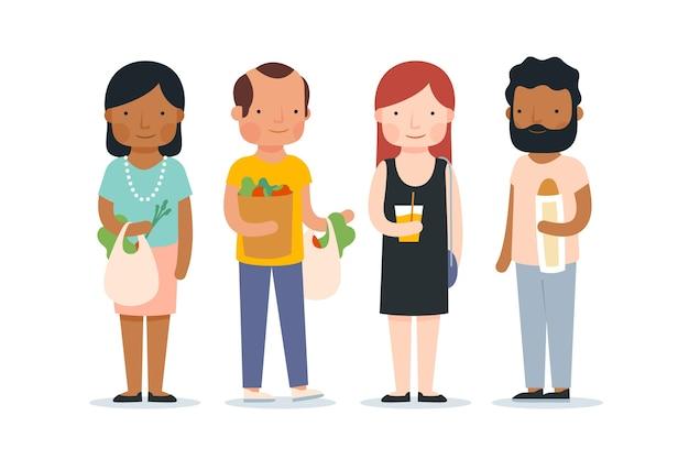 Ludzie z jedzeniem i napojami
