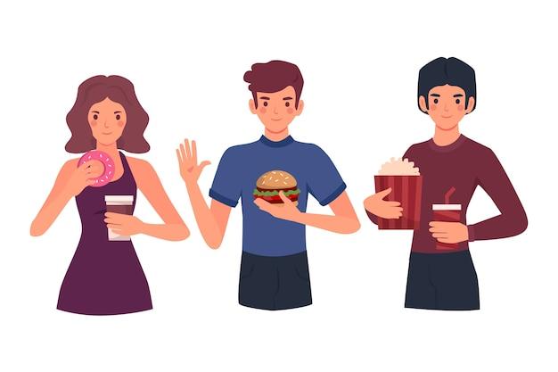 Ludzie z jedzeniem