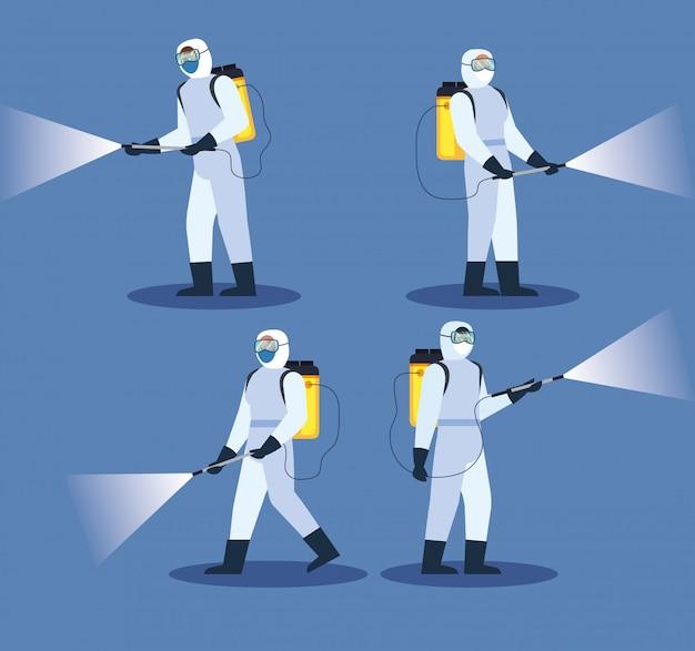 Ludzie z kombinezonem ochronnym lub rozpylającymi wirusami covid 19, koncepcja wirusa dezynfekcji