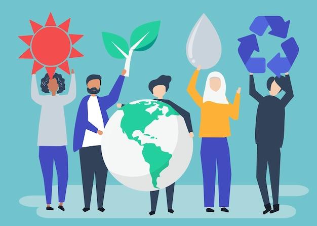 Ludzie z koncepcją zrównoważonego środowiska