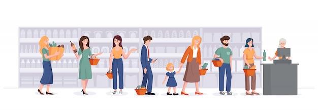 Ludzie z koszami stoją w kolejce przy kasie w supermarkecie. konsument w sklepie spożywczym czeka w kolejce i rozmawia na tle półek. ilustracja koncepcja zakupy