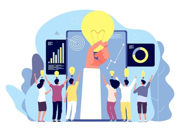 Ludzie z kreatywnym pomysłem. burza mózgów z zespołem i żarówkami, rozwiązanie wyszukiwania biznesmenów. innowacja, koncepcja wektor przywództwa. ilustracja przywództwa pomysł, sukces zespołu ludzi