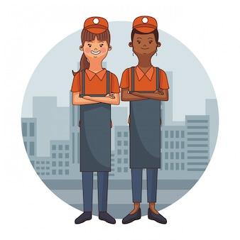 Ludzie z kreskówek kelnerów