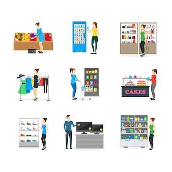 Ludzie z kreskówek na zakupy w sklepie ze słodyczami, odzieżą, jedzeniem, ubraniami, elektroniką, obuwiem i apteką. ilustracja wektorowa
