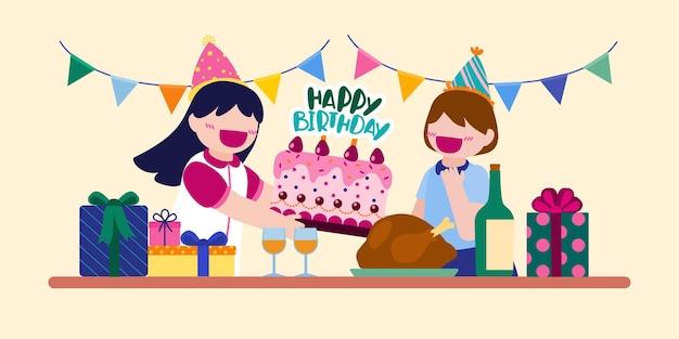 Ludzie z kreskówek urodzinowych mężczyzna i kobieta mają przyjęcie urodzinowe w domu