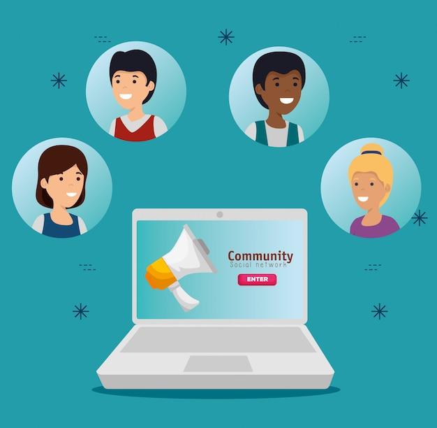 Ludzie z laptopem i czatem społecznościowym