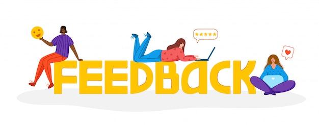 Ludzie z laptopem i gwiazdami - koncepcja opinii lub recenzji klienta, ocena usługi online