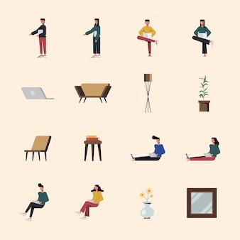 Ludzie z laptopem i scenografią domową, technologią cyfrową i tematem komunikacji
