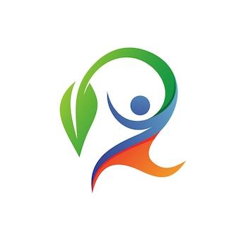 Ludzie z liściem w opiece zdrowotnej logo wektor