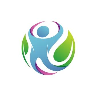 Ludzie z liśćmi logo wektor