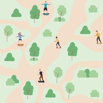 Ludzie z maskami medycznymi i deskorolkami w parku z krzewami i drzewami