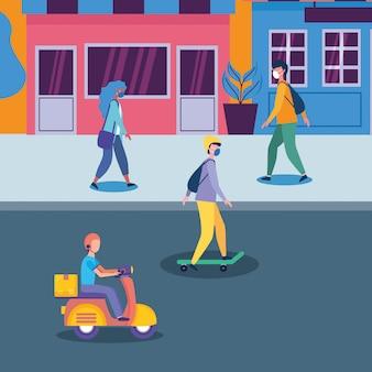 Ludzie z maskami na ulicy przed projektami sklepów