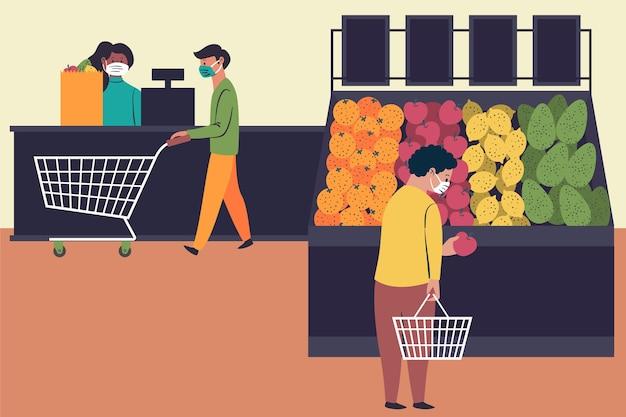 Ludzie z maskami w supermarkecie
