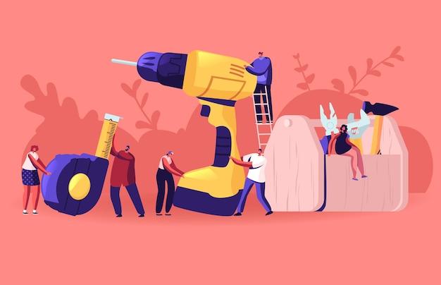 Ludzie z narzędziami do majsterkowania. pracownik architekta lub inżyniera postacie męskie i żeńskie trzymające ogromne instrumenty do prac remontowych w domu. płaskie ilustracja kreskówka