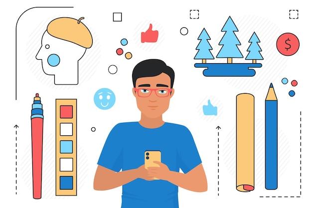 Ludzie z narzędziami do sztuki telefonu komórkowego aplikacja linii obiektów z grafikami ikonami mediów społecznościowych